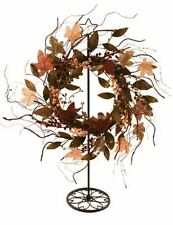 "22"" MAPLE BURLAP TWIG WREATH FALL / AUTUMN LEAVES BROWNS ORANGE AND CREAMS"