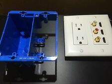 P&S Power Outlet 3x RCA R/W/Y 3x HDMI Two Gang Wall Plate White & OW Box