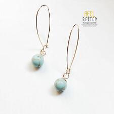 Boucles d`Oreilles Dormeuse Long Doré Perle Turquoise Bleu Retro Class DD 7