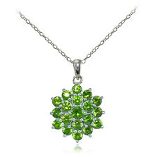 Sterling Silver Peridot Flower Necklace