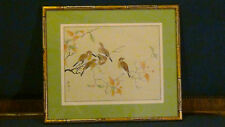 """ANTIQUE CHINESE WATERCOLOR & INK ON SILK PAINTING""""BIRDS PERCHED IN TREE BRANCHES"""