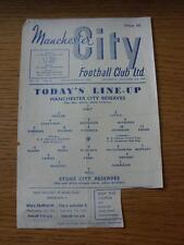 05/10/1957 Manchester City Reserves v Stoke City Reserves  (Small Mark, Creased,