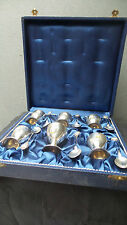 SET BOXED ANTIQUE SILVER PLATE EGG CUPS AND ENAMELLED SPOONS WITH LEBANON SHIELD