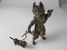 AUSTRIAN BRONZE HUNTER CAT DOG ON LEASH COLD PAINTED ANTIQUE VERY GOOD CONDITION