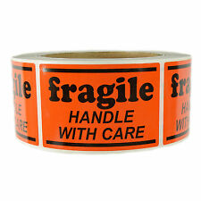 "Glossy Orange ""Fragile Handle with Care"" Labels Stickers  2"" by 3"" - 500 ct Roll"