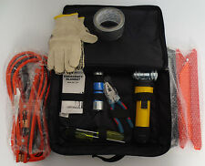 ROADSIDE EMERGENCY KIT CAR JUMPER CABLES TOOLS REFLECTOR FLASHLIGHT BLANKET TAPE
