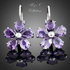 Platinum Plated Purple Flower SWAROVSKI ELEMENT Crystal Stud Earrings E245-18