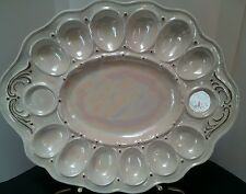 """Vintage Hand-Painted Egg Plate Tray Creamy White with Gold Trim 13.5"""" x 11"""""""