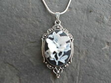 *STUNNING CAMEO NECKLACE!! (WHITE BUTTERFLY/BLACK) 925 silv plate chain! QUALITY