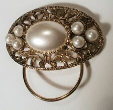 Vintage Gold Tone Faux Pearl Scarf/Dress Clip With Beautiful Filigree Design