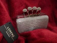 BNWT silver metal mesh evening clutch bag with knuckle rings prom party wedding