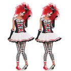 New Harlequin Jester Clown Circus Costume Ladies Halloween Party Fancy Dress