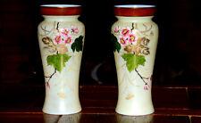Paire de grands vases en opaline émaillée , Napoléon III . Décor Japonisant .
