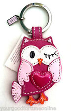 NWT Coach Girl Owl Leather Heart Winking Pink  Keyring Key Chain Fob Charm 93095