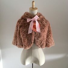 BABY,THE STARS SHINE BRIGHT Fur Cape Lolita Winter with rabbit ears smoky pink