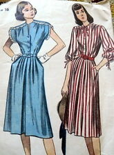 LOVELY VTG 1940s DRESS Sewing Pattern 16/34