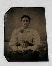 ANTIQUE TINTYPE PHOTOGRAPH WOMAN WITH GIRDLE BELT GLOVES FASHION COSTUME