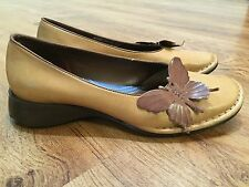 INDIGO WOMEN'S BROWN LEATHER BUTTERFLY COMFORT FLATS LOAFERS SHOES SIZE 7.5