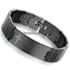"""8.5"""" Mens English Bible Prayer Cross Black Stainless Steel Bangle Bracelet*16MM"""