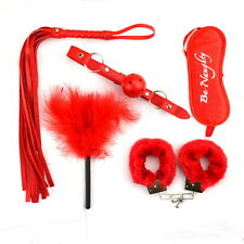 Affordable Bondage Set Kit Rope Ball Gag Cuff Whip Blindfold Adult Sex Red O