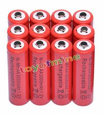 12 Aa?3000mAh?1.2V?Ni-Mh?Rec hargeable?Battery?for?Rc?M p3?Toys?Camera?Red