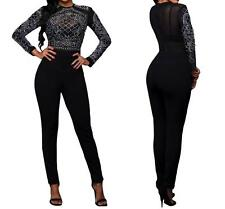 NEW WOMENS SEXY LONG SLEEVE BLACK RHINESTONE MESH LONG PANTS JUMPSUIT--L 64168