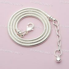 Silver /P Snake Chain Necklace Fit European Charm Beads With Lobster Clasp 5PCS