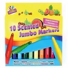10 Scented Jumbo Markers Bright Assorted Colours Non Toxic School Kids Activity