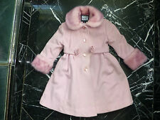 ROTHSCHILD Girls WOOL Pink ROSETTE FAUX FUR Collar & Cuff INSULATED COAT 4T 4 *