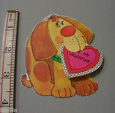 Vtg Valentine Card 70's 80's Yellow Dog Be My Valentine Insert In Mouth UNUSED
