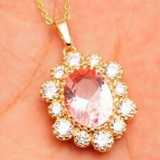 Lovely Pink Oval Clear Cubic Zircon Gold Plated Pendant 45+5 CM Chain Necklace