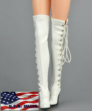 "1/6 Scale Women Over The Knee High Heel Boots For 12"" Hot Toys Phicen Figure"