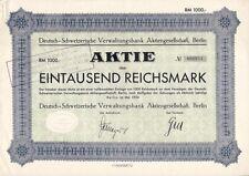 SELTEN:  Deutsch Schweizerische Verwaltungsbank AG 1934   800DM