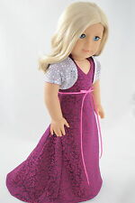 Bordeaux Dress & Silver Top American Made / Doll Clothes  for 18 inch Girl Dolls