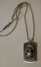 Men's Stainless Steel Inox Skull Dog Tag Necklace