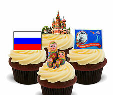 Russia Fun Mix Edible Cupcake Toppers, Stand-up Fairy Cake Decorations Russian
