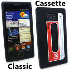 Black Classic Cassette Tape Silicone Case Cover for Samsung Galaxy S 2 S2 II +SP