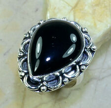 LOVELY HUGE GENUINE BLACK ONYX PEAR GEMSTONE ANTIQUE LOOK 925 SILVER RING SIZE 8