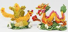 "Feng Shui Pair of 2.5"" Phoenix Dragon Statue Figurine Marriage Luck Wedding Gift"