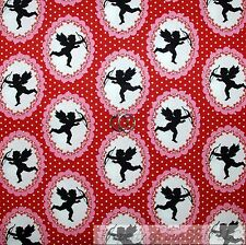 BonEful Fabric FQ Cotton Quilt Red White Pink Black B&W Cherub Angel Small Large