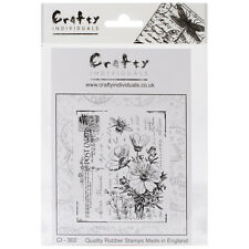 """Crafty Individuals Unmounted Rubber Stamp 4.75""""X7"""" Pkg-Floral Postcard"""