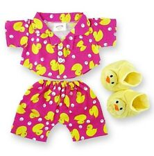 Teddy Bear Clothes fits Build a Bear Pink Duck PJ's with Slippers Bears Clothing