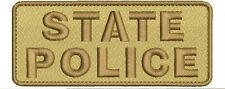 state police embroidery patches 2x5 brown tan