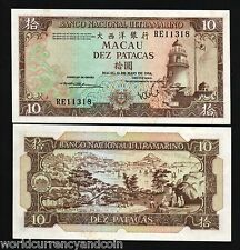 MACAU CHINA 10 PATACAS P59 1984 RUNNING # 10 UNC LIGHTHOUSE BOAT MACAO PORTUGAL