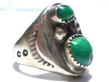 """ANTIQUE VERY OLD DESIGNER """"EL"""" STERLING SILVER TURQUOISE NATIVE AMERICAN RING"""