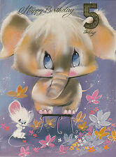 Vintage 1970's Happy 5th Birthday Greeting Card ~ 5 Years Old ~ Elephant