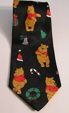 CHRISTMAS WINNIE THE POO BEAR ON BLACK DPOLYESTER TIE NECKTIE