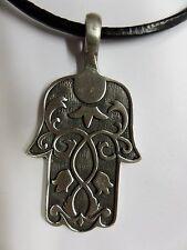 Hamsa hand, Fatima Hand Pewter Pendant Necklace, Spiritual, Lead Free 0097