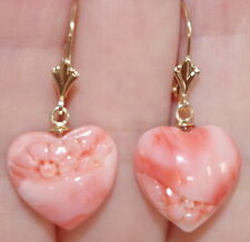 ANTIQUE 14K TWO SIDED FLOWER CARVED ANGEL SKIN CORAL DOME HEART DROP EARRINGS