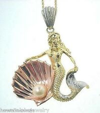 36mm Heavy 14k Tri-Color Gold Hawaiian Legends Mermaid Lehua Pearl Pendant